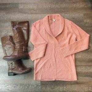 J. Crew Wool Mohair Blend Pink V-Neck Sweater Sz M